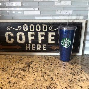 Starbucks Blue Glitter Tumbler